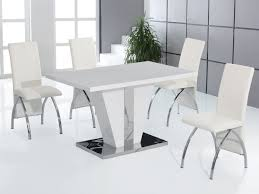 Full White High Gloss Dining Table And 4 Chairs Dining Room Furniture Set