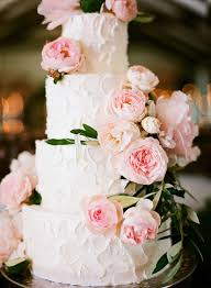 Rustic Iced Wedding Cake Ideas With Pink Garden Roses Decorated