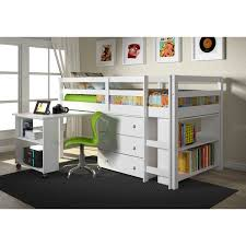 Low Loft Bed With Desk And Storage by Donco Kids Low Study Loft Hayneedle
