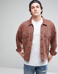 asos oversized denim jacket in vintage pink in pink for men lyst