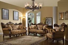 Traditional Formal Sofa Set Brown Couch