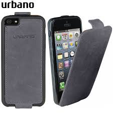 Genuine Leather Flip Case for iPhone 5S 5 Grey Vintage