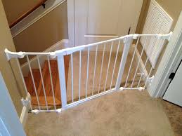 Model Staircase: Installing Baby Gate Without Drilling Into ... Baby Gate For Stairs With Banister Ipirations Best Gates How To Install On Stairway Railing Banisters Without Model Staircase Ideas Bottom Of House Exterior And Interior Keep A Diy Chris Loves Julia Baby Gates For Top Of Stairs With Banisters Carkajanscom Top Latest Door Stair Design Wooden Rs Floral The Retractable Gate Regalo 2642 Or Walls Cardinal Special Child Safety Walmartcom Designs