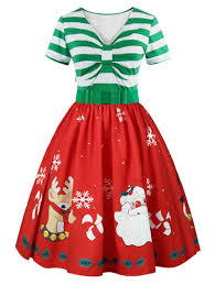 2018 Christmas Print Short Sleeve Belted Vintage Dress In Light