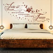 détails sur wandtattoo liebe ist beim aufwachen spruch zitat schlafzimmer paare blumen