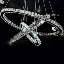 Stainless Steel 3 Circles 65W LED K9 Crystal Chandelier Hot Sale Diamond Ring Modern Pendant Lamp