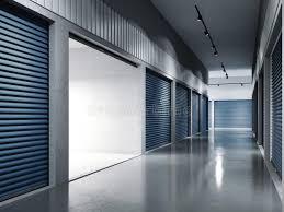 Download Storage Facilities With Blue Doors Opened Door 3d Rendering Stock Image