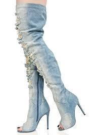 privileged darling distressed denim thigh high boots dolls kill
