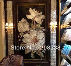 flowers glass mosaic tile modern wall mural sofa