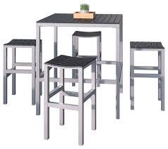 corliving 5 piece aluminum and black outdoor bar height bistro set