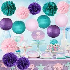 Furuix Mermaid Baby Shower DecorationsMermaid Party DecorPurple Teal Pink Party Decorations Purple Teal Paper Pom Pom Paper Lanterns Little Mermaid