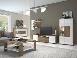 easy möbel wohnzimmer komplett set b manase 5 teilig farbe eiche braun weiß hochglanz