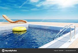 Blue Swimming Pool With Yellow Life Ring Floating On Water Surface Beach Lounger Wooden Flooring Sun Deck Sea View For Summer Vacation 3D Rendering