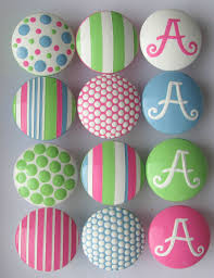 hand painted pink green blue monogram knobs by leilasloft on etsy