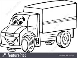 Auto Transport: Funny Truck Cartoon For Coloring Book - Stock ...