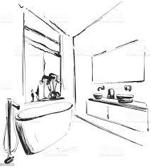 handgezeichnete badezimmer interieur skizze waschbecken spiegel und tippen sie auf skizze stock vektor und mehr bilder badewanne