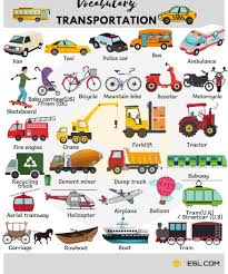 Transportation Vocabulary In English | Vehicle Names - 7 E S L