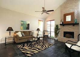 Stone Floor Living Room Black Slate Flooring In With Brick Wall Decoration