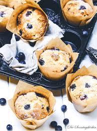 fruchtig blueberry muffins mit weißer schokolade