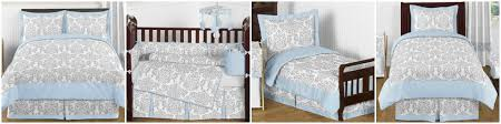 Avery Blue and Gray Damask Baby and Kids Bedding