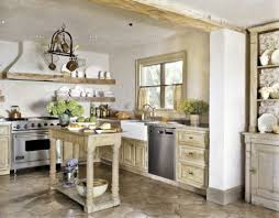 Cute Country Kitchen With Rustic Island
