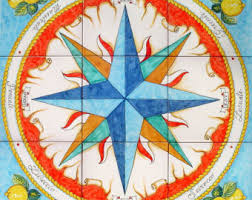 painted tiles compass compass nautical