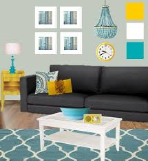 Living Room Moodboard With Teal And Yellow We Could Think About The Black Furniture