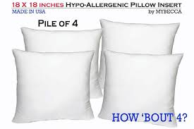 Replacement Sofa Pillow Inserts by Set Of 4 18 X 18 Premium Hypoallergenic Stuffer Pillow Insert