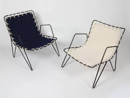 Modernist Iron And Blue Canvas Patio Lounge Chair, 1950s In ...