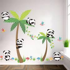 stickers panda chambre bébé panda oiseaux fleur de palmier mur autocollants pour enfants