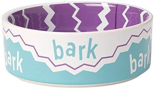Pet Rageous 2 Cup Play Pals Bark Ceramic Dog Bowl - Purple, 5""