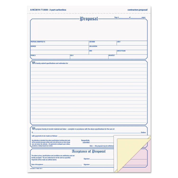 "Tops Three Part Carbonless Proposal Form - 8 1/2"" x 11"", 50ct"