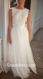 Organza Skirt Rustic Bridal Wedding Dress Boat Neck White Lace Sleeveless