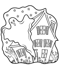 Click To See Printable Version Of Haunted Houses With Ghost Coloring Page