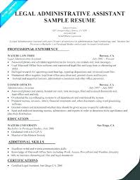 Legal Administrative Assistant Resume Sample For Resumes Templates Students With No Experience Free