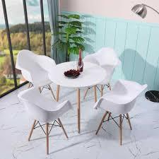 stühle set 4 moderne kunststoff sessel holz beine für