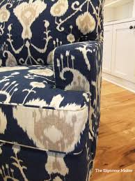 Slipcover Makeover With Indigo Ikat | The Slipcover Maker Sure Fit Cotton Duck Folding Chair Slipcover Wayfair Custom Slipcovers By Shelley Floral Wingback Chair With Boxpleat What Is Upholstery And How Do You Choose The Best Fabric For Your Bedroom Astonishing Wing Recliner For Elegant Home In Buffalo Check The Maker Chairs Redoubtable With Arms Magnificent Vintage Duralee Linen Blue White 2019 To Reupholster A A Bystep Tutorial Guide Amazoncom Tailor Microsuede Fniture Ikea Sofa Cover Couch Comfort Works