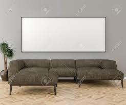 blank bilderrahmen an der wand im wohnzimmer inneneinrichtung und großes sofa 3d übertragen