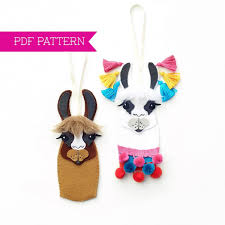 PDF Pattern Llama Ornaments Christmas Felt Ornament Pattern