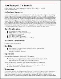 Massage Therapist Resume Sample 25 Of Curriculumvitae Template Occupational Therapy