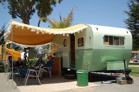 1949 Star Vintage Trailer With A Great Yellow Striped Awning Long White Cotton Fringe