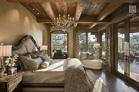 Amazing Rustic Bedroom Ideas With Chandelier And Large Window Doors