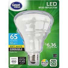 great value led dimmable br30 reflector light bulb 12w 65w