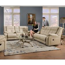 Darrin Leather Reclining Sofa With Console by Simmons Upholstery Miracle Bonded Leather Double Motion Console