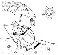 Clipart Image Of Black And White Coloring Page A Watermelon Relaxing On The Beach In Sun
