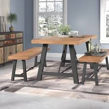 Lebanon 3 Piece Wood Dining Set On Room Furniture Benches