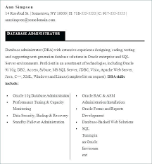 Resume Samples For Database Management As Well Sample