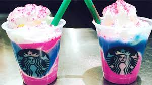 Starbucks Trialed A New Drink The Unicorn Frappuccino This Was Made From Creme With Mango Syrup Pink Powder And Sour Blue Drizzle