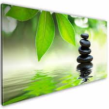 details zu vlies leinwand bilder bambus asian steine grün wandbilder wohnzimmer kunstdruck