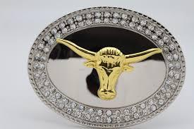 silver metal belt buckle gold big bull long texas long horn cow